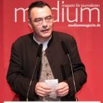 """Christoph Reuter, """"Der Spiegel"""": Für seine Berichte aus Syrien wurde er 2012 zum """"Reporter des Jahres"""" gewählt. Das Foto zeigt ihn bei der Ehrung in Berlin im Januar 2013."""