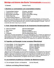 """Der geplante Inhalt des Buchs """"Universalcode"""""""