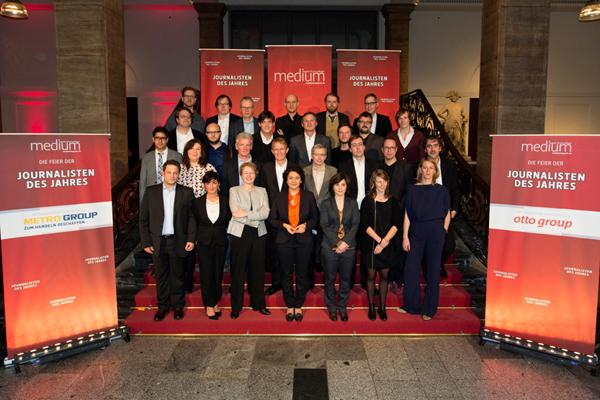 """Die Sieger der """"Journalisten des Jahres 2014"""" bei der Preisverleihung im Februar 2015 in Berlin. Foto: Wolfgang Borrs"""