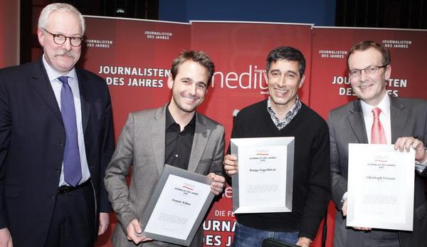 """Laudator Bernd Ziesemer (ehem. Chefredakteur von """"Handelsblatt""""), Dennis Wilms (""""W wie Wissen""""), Ranga Yogeshwar (ARD), Christoph Drösser (""""Die Zeit"""")"""