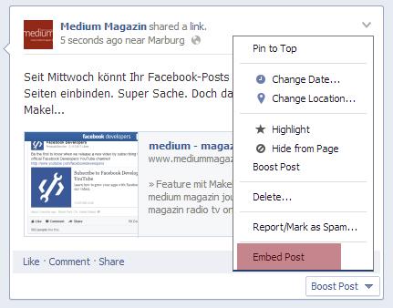 """Ein Klick auf den rot markierten Menüpunkt """"Embed Post"""" generiert den Embed-Code."""