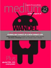 """Cover-Entwurf 4: """"Das Konzept steht ebenfalls für die Auswirkung der neuen Medien auf die Welt der Kommunikation.Der Android-Roboter und der Apfel stellen die Kraft von smartphones als Konkurrenten gegenüber den traditionellen Medien dar."""""""