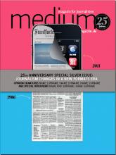 """Cover-Entwurf 2: """"Für diesen Entwurf haben wir das Cover  in zwei verschiedene Farben geteilt, die die beiden wesentlichen Phasen der Kommunikations-Ära im Wechsel von Print zu Digital Medien repräsentieren."""""""