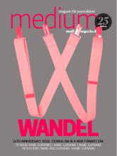 """Cover-Entwurf 6. Dieser Entwurf nutzt den stereotypischen Begriff von klassischem Journalismus, repräsentiert im Buchstaben """"W"""" von """"Wandel"""", es soll besonders daran erinnern, dass Wandel beginnt, wenn wir beginnen, Klischees aufzubrechen"""
