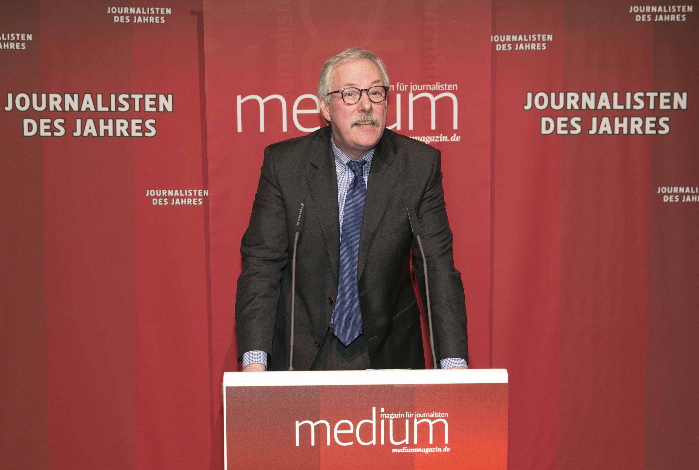 """DEU, Berlin, 03.02.2014, medium magazin, Feier und Preisverleihung an die """"Journalisten des Jahres 2013"""", Cafe im Zeughaus im Deutschen Historischen Museum, B. Ziesemer (Laudator),   [ (c) Wolfgang Borrs, Wiener Str. 11, D-10999 B e r l i n, Mobile +49.171.5332491, www.borrs.de, mail@borrs.de; ]"""