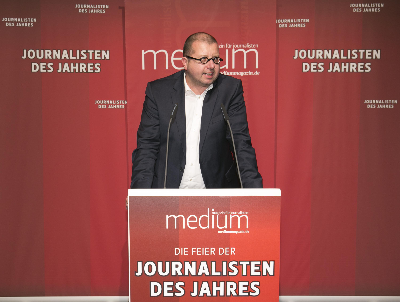 """DEU, Berlin, 03.02.2014, medium magazin, Feier und Preisverleihung an die """"Journalisten des Jahres 2013"""", Cafe im Zeughaus im Deutschen Historischen Museum, J. Braun (Laudator),   [ (c) Wolfgang Borrs, Wiener Str. 11, D-10999 B e r l i n, Mobile +49.171.5332491, www.borrs.de, mail@borrs.de; ]"""