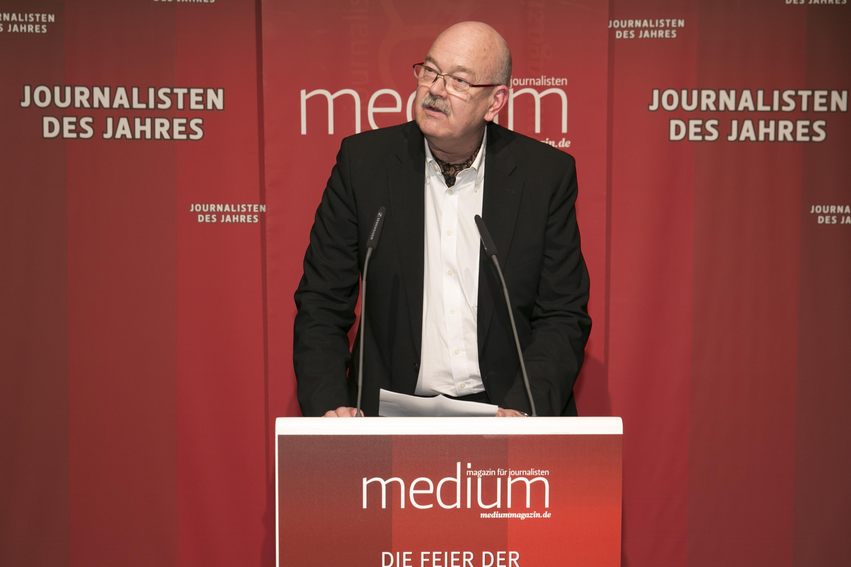"""DEU, Berlin, 03.02.2014, medium magazin, Feier und Preisverleihung an die """"Journalisten des Jahres 2013"""", Cafe im Zeughaus im Deutschen Historischen Museum, R.-D. Krause (Laudator),   [ (c) Wolfgang Borrs, Wiener Str. 11, D-10999 B e r l i n, Mobile +49.171.5332491, www.borrs.de, mail@borrs.de; ]"""