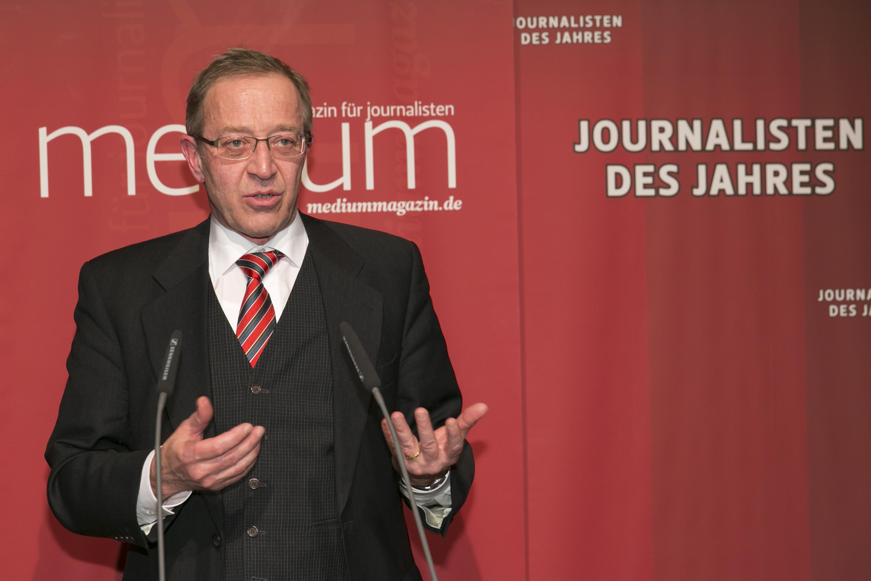 "DEU, Berlin, 03.02.2014, medium magazin, Feier und Preisverleihung an die ""Journalisten des Jahres 2013"", Cafe im Zeughaus im Deutschen Historischen Museum, Guenter Bannas (FAZ, Politik 1.)  [ (c) Wolfgang Borrs, Wiener Str. 11, D-10999 B e r l i n, Mobile +49.171.5332491, www.borrs.de, mail@borrs.de; ]"