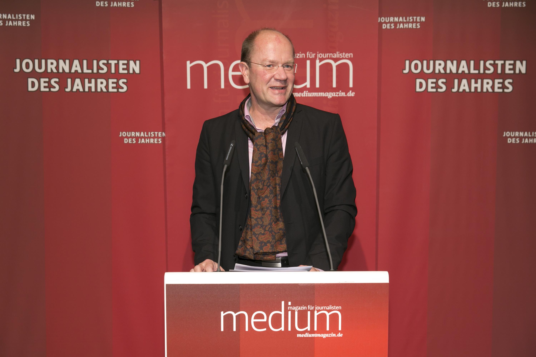 "DEU, Berlin, 03.02.2014, medium magazin, Feier und Preisverleihung an die ""Journalisten des Jahres 2013"", Cafe im Zeughaus im Deutschen Historischen Museum, J. Widmann (Laudator)  [ (c) Wolfgang Borrs, Wiener Str. 11, D-10999 B e r l i n, Mobile +49.171.5332491, www.borrs.de, mail@borrs.de; ]"