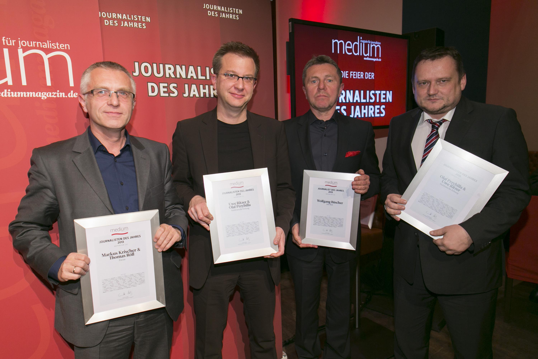 """DEU, Berlin, 03.02.2014, medium magazin, Feier und Preisverleihung an die """"Journalisten des Jahres 2013"""", Cafe im Zeughaus im Deutschen Historischen Museum, v.l.: Markus Krischer (Focus, Reporter 2.), Uwe Ritzer (Sueddeutsche Zeitung, Reporter 1.), Wolfgang Buescher (Die Welt, Reporter 3.), Olaf Przybilla (Sueddeutsche Zeitung, Reporter 1.),   [ (c) Wolfgang Borrs, Wiener Str. 11, D-10999 B e r l i n, Mobile +49.171.5332491, www.borrs.de, mail@borrs.de; ]"""