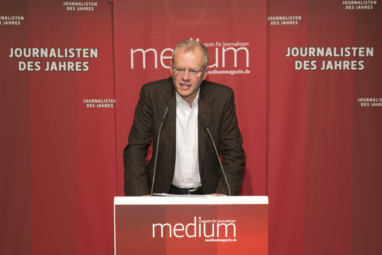 """DEU, Berlin, 03.02.2014, medium magazin, Feier und Preisverleihung an die """"Journalisten des Jahres 2013"""", Cafe im Zeughaus im Deutschen Historischen Museum, A. Wolfers (Laudator),  [ (c) Wolfgang Borrs, Wiener Str. 11, D-10999 B e r l i n, Mobile +49.171.5332491, www.borrs.de, mail@borrs.de; ]"""