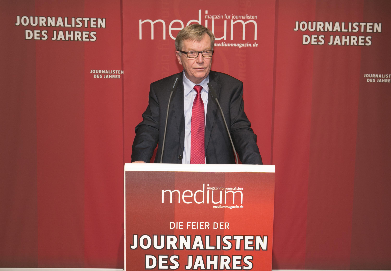 """DEU, Berlin, 03.02.2014, medium magazin, Feier und Preisverleihung an die """"Journalisten des Jahres 2013"""", Cafe im Zeughaus im Deutschen Historischen Museum, B. Gaebler (Laudator),  [ (c) Wolfgang Borrs, Wiener Str. 11, D-10999 B e r l i n, Mobile +49.171.5332491, www.borrs.de, mail@borrs.de; ]"""