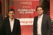 """DEU, Berlin, 03.02.2014, medium magazin, Feier und Preisverleihung an die """"Journalisten des Jahres 2013"""", Cafe im Zeughaus im Deutschen Historischen Museum, v.r.: Marcel Rosenbach (Der Spiegel, Journalist des Jahres 2013), Holger Stark (Der Spiegel, Journalist des Jahres 2013),[ (c) Wolfgang Borrs, Wiener Str. 11, D-10999 B e r l i n, Mobile +49.171.5332491, www.borrs.de, mail@borrs.de; ]"""