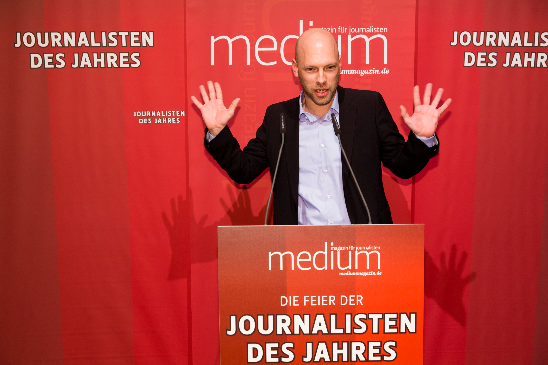 "DEU, Berlin, 23.02.2015, medium magazin, Feier und Preisverleihung an die ""Journalisten des Jahres 2014"", Cafe im Zeughaus im Deutschen Historischen Museum, Ch. Meier (Laudator), [ (c) Wolfgang Borrs, Wiener Str. 11, D-10999 B e r l i n, Mobile +49.171.5332491, www.borrs.de, mail@borrs.de; ]"