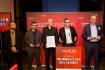 """DEU, Berlin, 23.02.2015, medium magazin, Feier und Preisverleihung an die """"Journalisten des Jahres 2014"""", Cafe im Zeughaus im Deutschen Historischen Museum, 11. Freunde, Redaktion des Jahres (am Mikro: Philipp Koester)[ (c) Wolfgang Borrs, Wiener Str. 11, D-10999 B e r l i n, Mobile +49.171.5332491, www.borrs.de, mail@borrs.de; ]"""