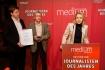 """DEU, Berlin, 23.02.2015, medium magazin, Feier und Preisverleihung an die """"Journalisten des Jahres 2014"""", Cafe im Zeughaus im Deutschen Historischen Museum, v.l.: Christian Mihr (Reporter ohne Grenzen), Michael Rediske (Reporter ohne Grenzen), Astrid Frohloff (Reporter ohne Grenzen), [ (c) Wolfgang Borrs, Wiener Str. 11, D-10999 B e r l i n, Mobile +49.171.5332491, www.borrs.de, mail@borrs.de; ]"""