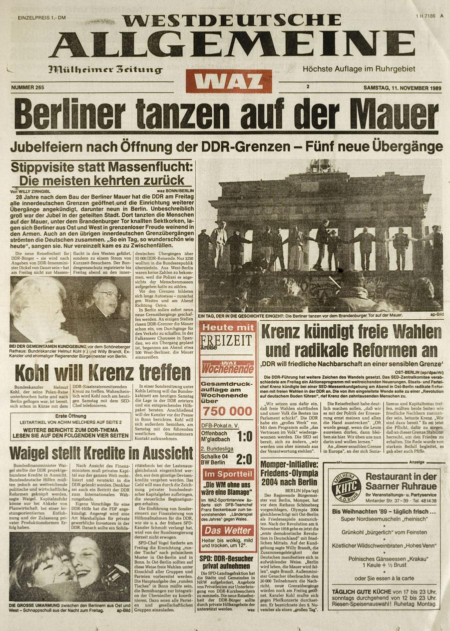 Die Seite Eins der Westdeutschen Allgemeinen Zeitung (WAZ) aus Essen vom 11.November 1989 mit dem Titel: